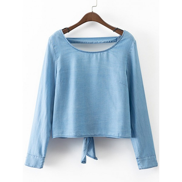 Blue Denim Jeans Backless Sexy Long Sleeves Top Shirt Blouse