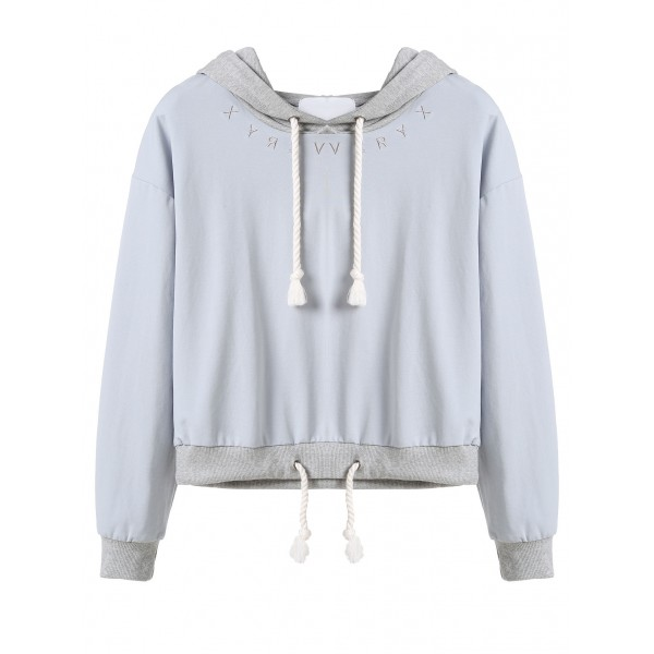 Blue Embroidered Drawstring Hooded Hoodie Cropped Sweatshirt