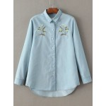 Blue Flower Embroidered Denim Jeans Long Sleeevs Boyfriend Shirt Blouse