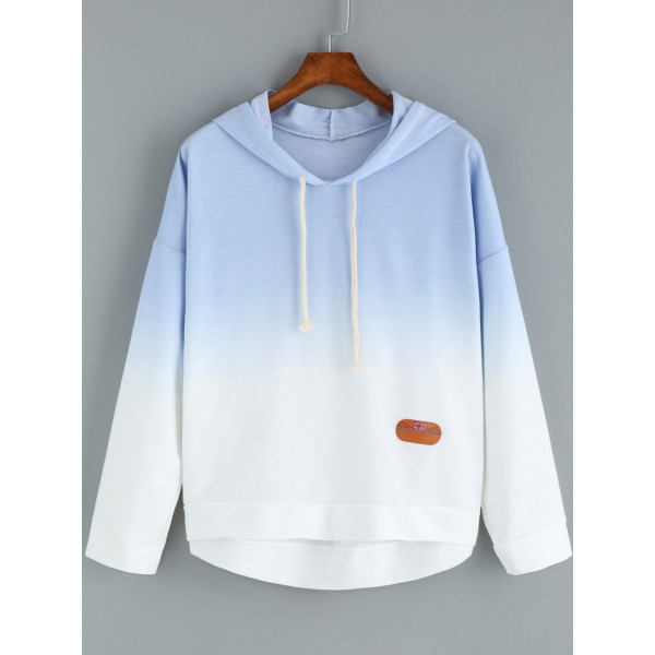 Blue Gradual Pastel Color Hoodie Hooded Sweatshirt