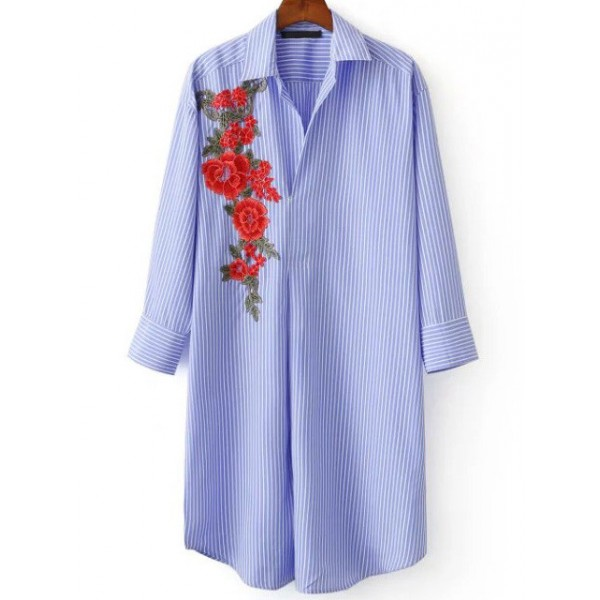 Blue Lines Stripes Red Giant Flower Embroidery Blouse