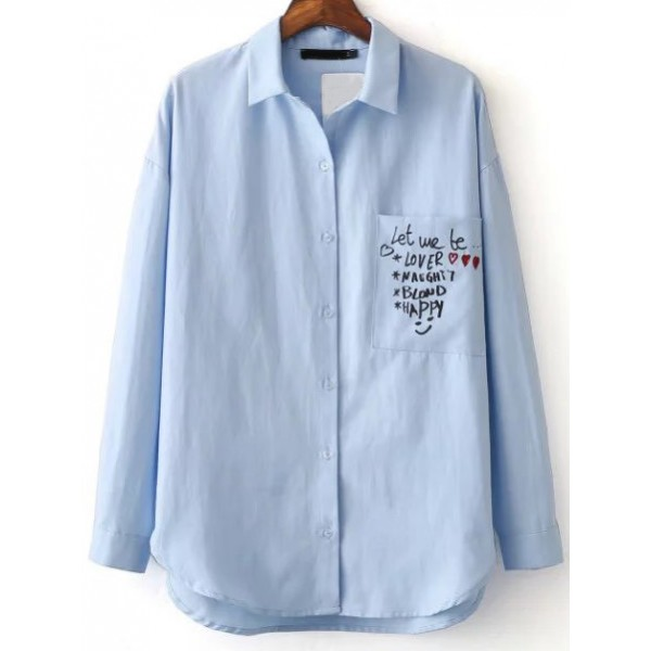 Blue Love Letter Print Demin Color Long Sleeves Blouse Shirt
