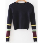 Blue Navy Block Long Sleeves Crop Winter Sweater