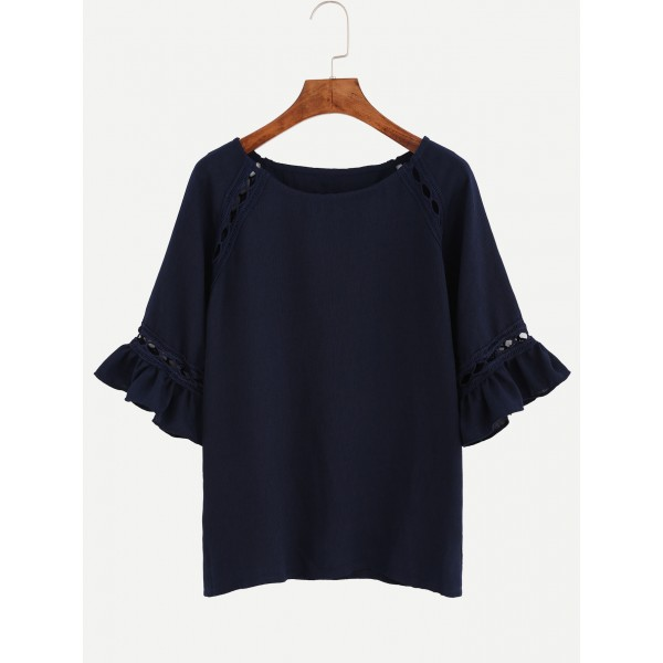 Blue Navy Casual Ruffle Sleeves Shirt Top