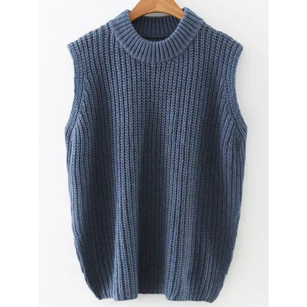 Blue Navy Crew Round Neck Side Slit Sleeveless Sweater Vest