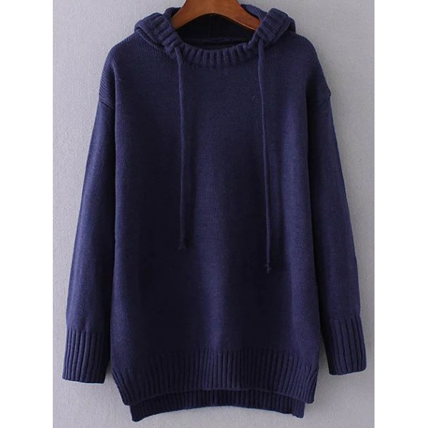 Blue Navy Drawstring Hooded Long Sleeves Sweater