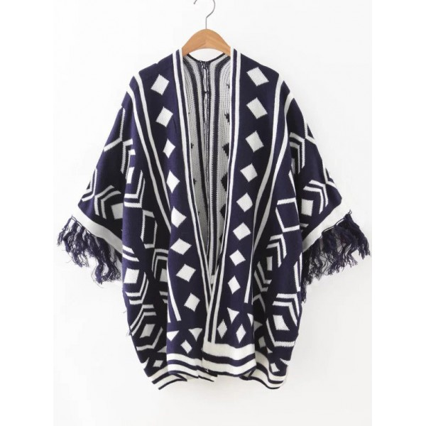 Blue Navy Geometric Square Fringe Winter Sweater