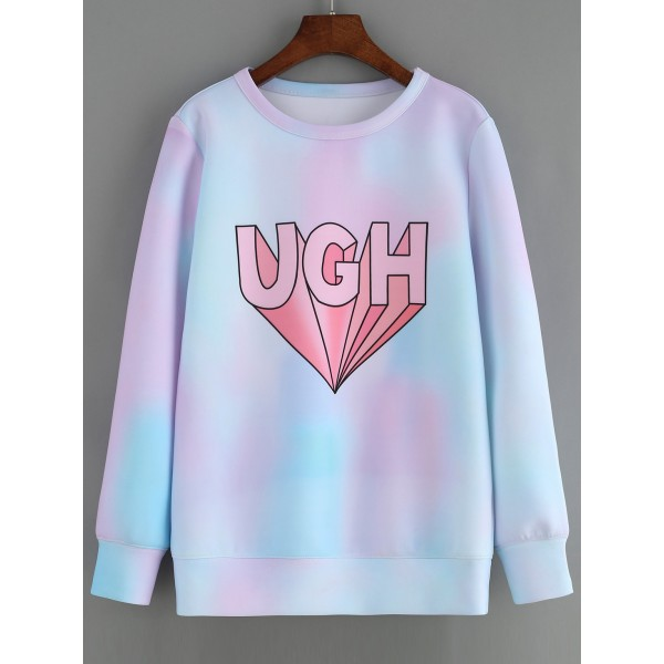 Blue Pink Pastel Rainbow UGH Tie-dye Long Sleeves Sweatshirt