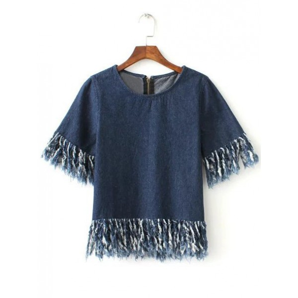 Blue Short Sleeves Denim Jeans Fringes Cropped Shirt Top