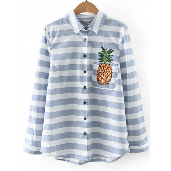 Blue Stripes Pineapple Embroideried Pocket Long Sleeves Blouse