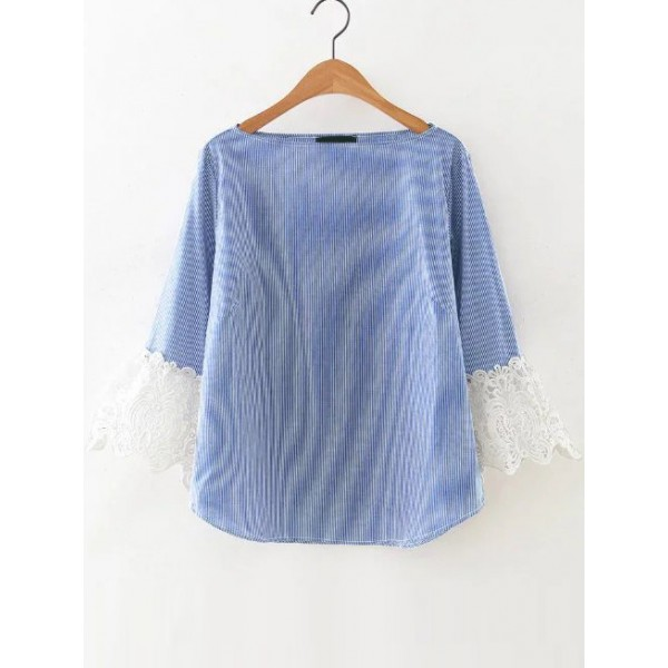 Blue Vertical Lines White Cuff Blouse Shirt Top