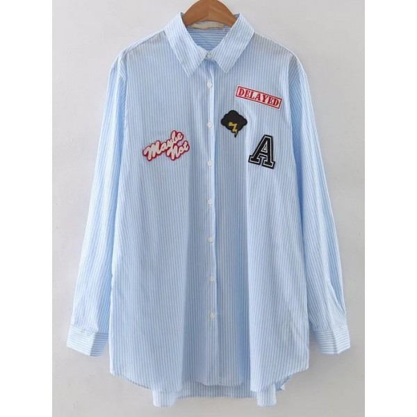 Blue Vertical Stripes Delayed Cloud Patch Long Sleeves Shirt Blouse
