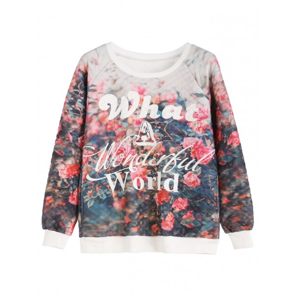 Blue What a Wonderful World Long Sleeves Quilted Sweatshirt