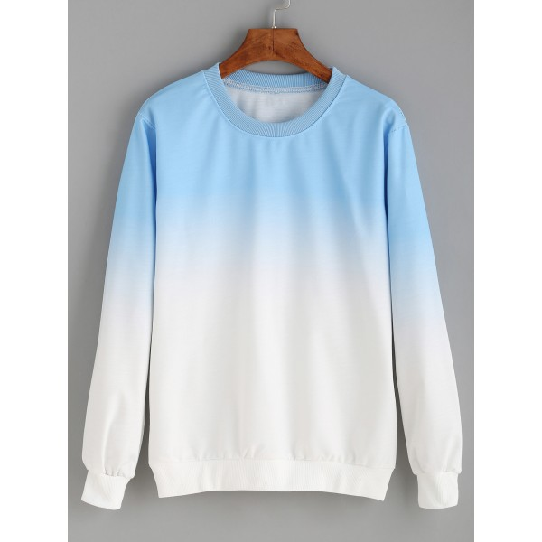 Blue White Gradual Tie Dye Long Sleeves Sweatshirt