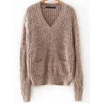 Brown V Neck Front Pockets Sweater