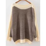 Brown Beige Block Boat Neck Loose Shoulder Knitwear Sweater