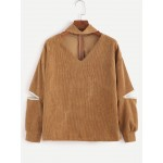 Brown Khaki V Neck Long Sleeves Corduroy Zippers Blouse Shirt