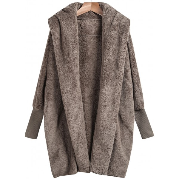 Brown Open Front Loose Long Jacket Cardigan