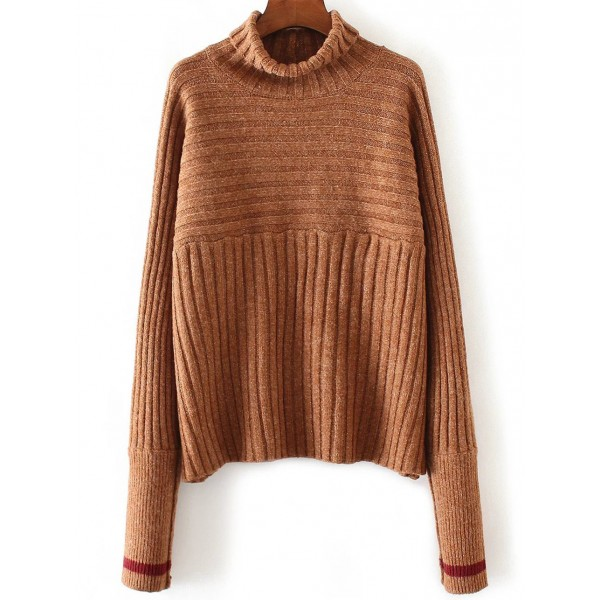 Brown Turtleneck Contrast Lines Ribbed Winter Sweater