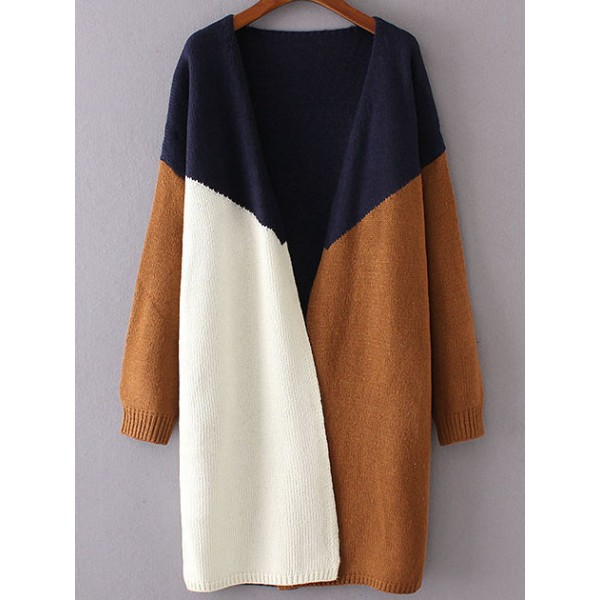 Brown White Collarless Drop Loose Shoulder Cardigan Jacket