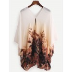 Brown White Florals V Neck Bat Wing Loose Fit Chiffon Shirt Blouse