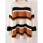 Brown White Lines Stripes Drop Shoulder Loose Winter Sweater