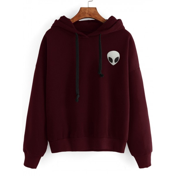 Burgundy Alien Embroideried Head Hoodie Hooded Sweatshirt