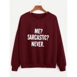 Burgundy Drop Shoulder Letters Print Sweatshirt