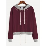 Burgundy Grey Lucky Drawstring Hooded Hoodie Sweatshirt