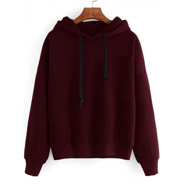 Burgundy Hoodie Hooded Long Sleeves Sweatshirt