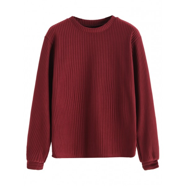 Burgundy Long Sleeve Ribbed Texture Sweatshirt