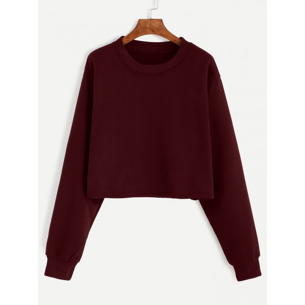 Burgundy Old School Long Sleeves Crew Neck Sweatshirt
