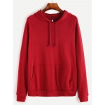 Burgundy Red Front Pocket Hoodie Hooded Sweatshirt