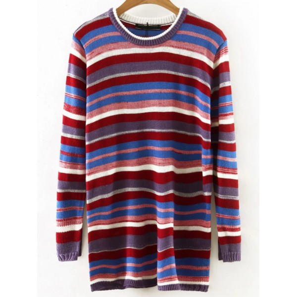 Colorful Lines Striped Round Neck Loose Sweater