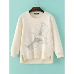 Cream Eagle Embroideried Quilted Long Sleeves Sweatshirt