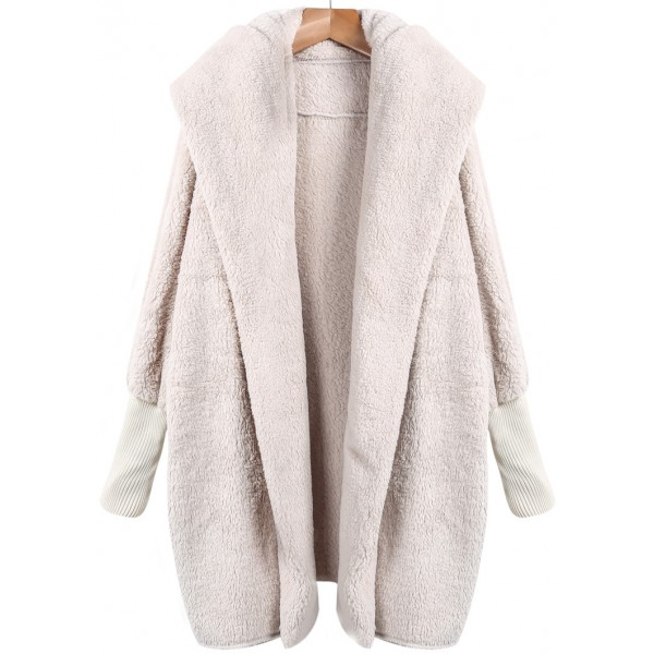 Cream Lapel Long Sleeves Loose Jacket Coat