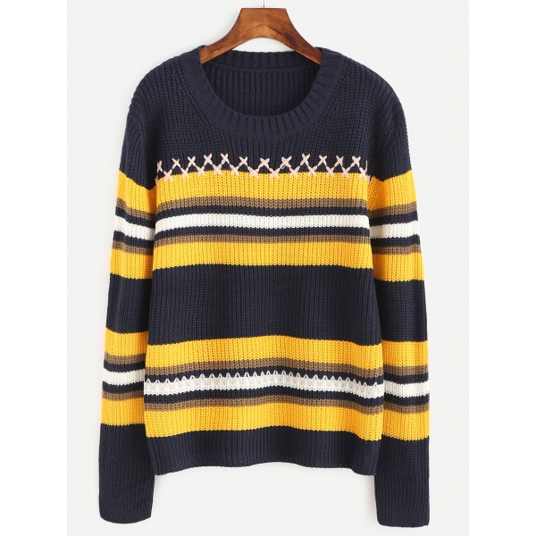 Dark Blue Yellow Striped Winter Sweater