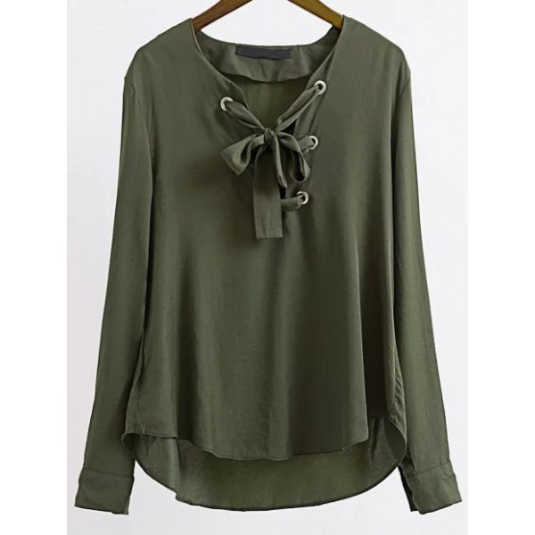 Green Lace Up Long Sleeves Shirt Blouse