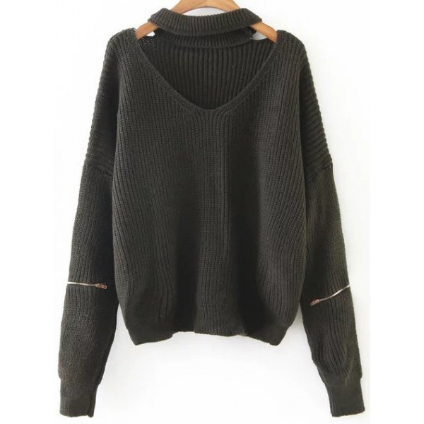 Green  Long Sleeves V Neck Zipper Winter Sweater