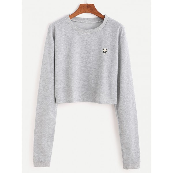 Grey Alien Embroidered Long Sleeves Cropped Sweatshirt