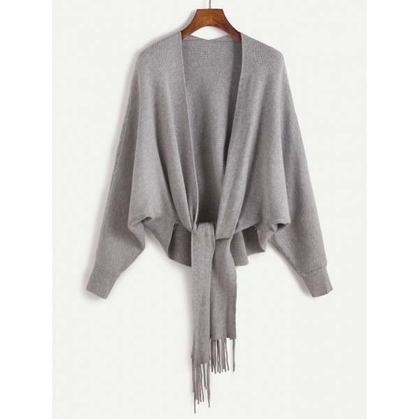 Grey Batwing Long Sleeves Trim Coat Cardigan