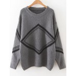 Grey Black Diamond Pattern Shape Drop Shoulder Long Sleeves Sweater