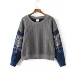 Grey Blue Embroidery Denim Sleeve Braided Sweatshirt