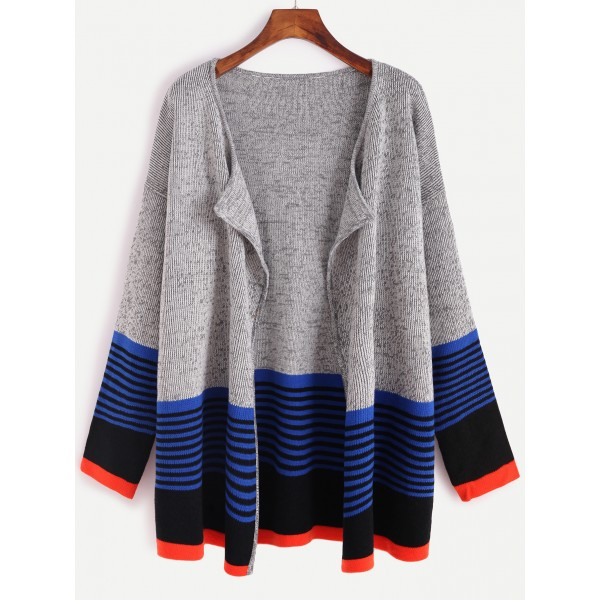 Grey Blue Lines Long Sleeve Cardigan