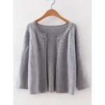 Grey Boat Neck Loose Cardigan Knitwear Sweater