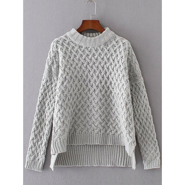 Grey Crew urtle Neck Long Sleeves Loose Sweater