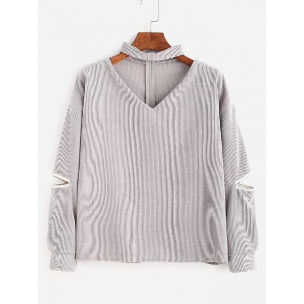 Grey Cut Out V Neck Zipper Long Sleeves Corduroy Blouse