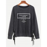 Grey Fashionaby Late Side Lace Up Vintage Sweatshirt