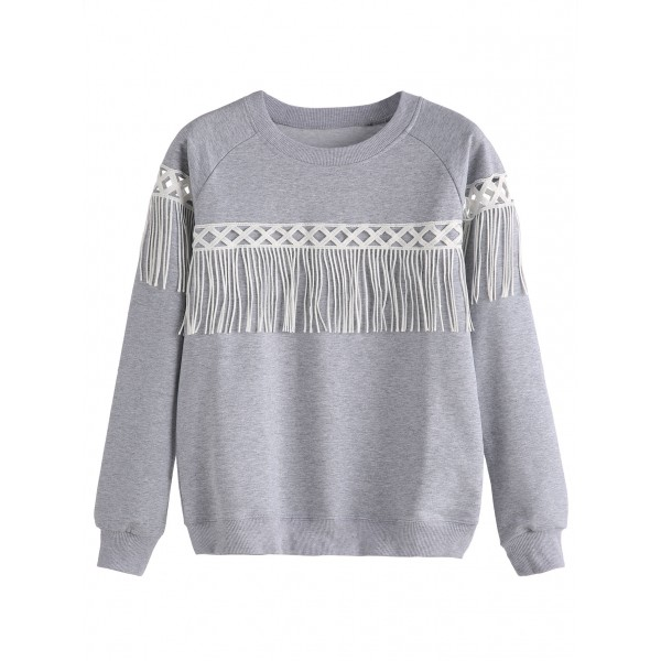 Grey Fringes Long Sleeves Crew Neck Sweatshirt