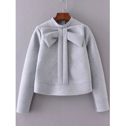 Grey Giant Bow Embellished Long Sleeves Crew Neck Sweatshirt